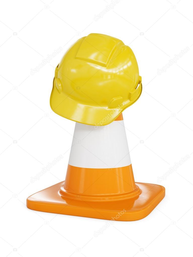 Bajo fondo del concepto de construcción - amarillo sombrero duro en cono de  construcción de tráfico de carretera naranja con rayas blancas cedc1335118
