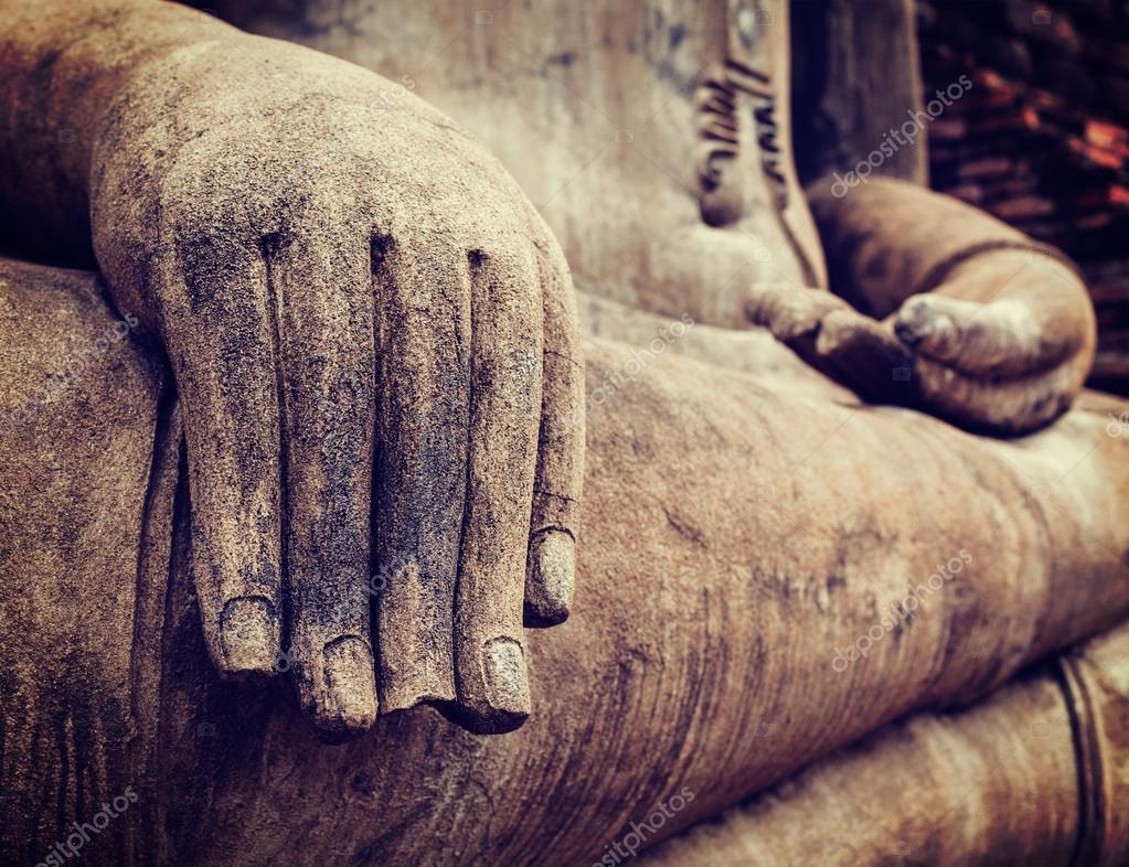 Buddha statue hand close up detail