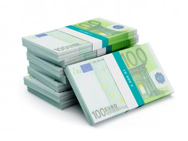 Stack of 100 euro banknotes bundles isolated