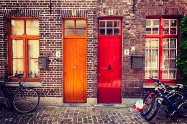 Doors of old houses in Bruges, Belgium
