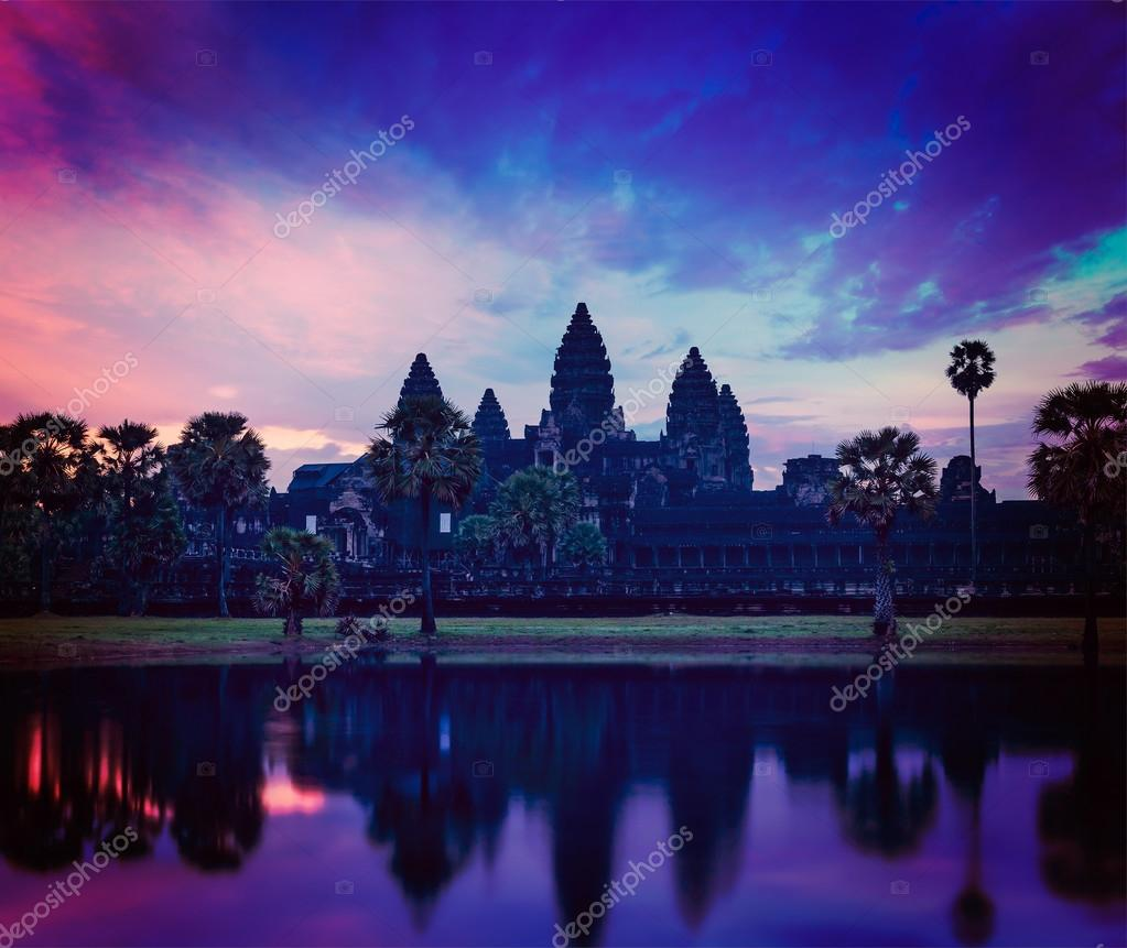 Angkor Wat - famous Cambodian landmark on sunrise