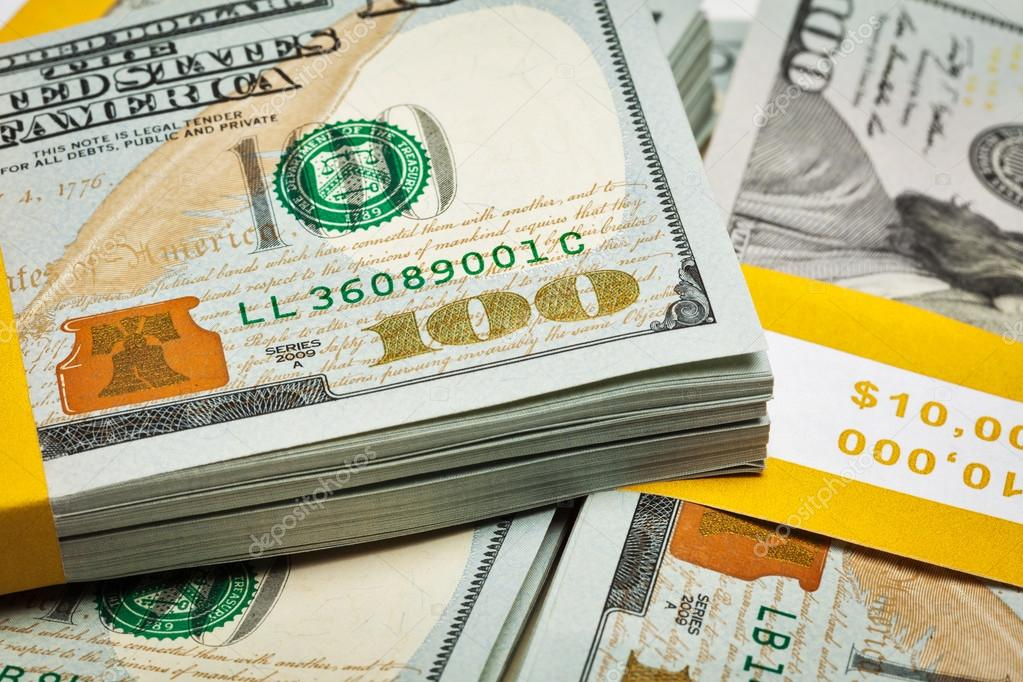 Background of new 100 US dollars 2013 banknotes — Stock