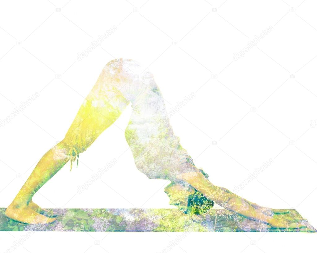 Double exposure image of  woman doing yoga asana