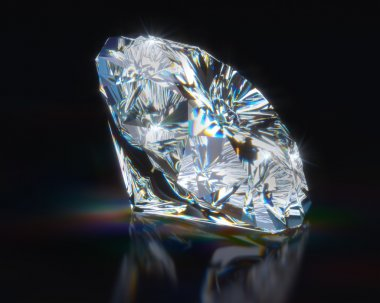 Diamond on black reflective background
