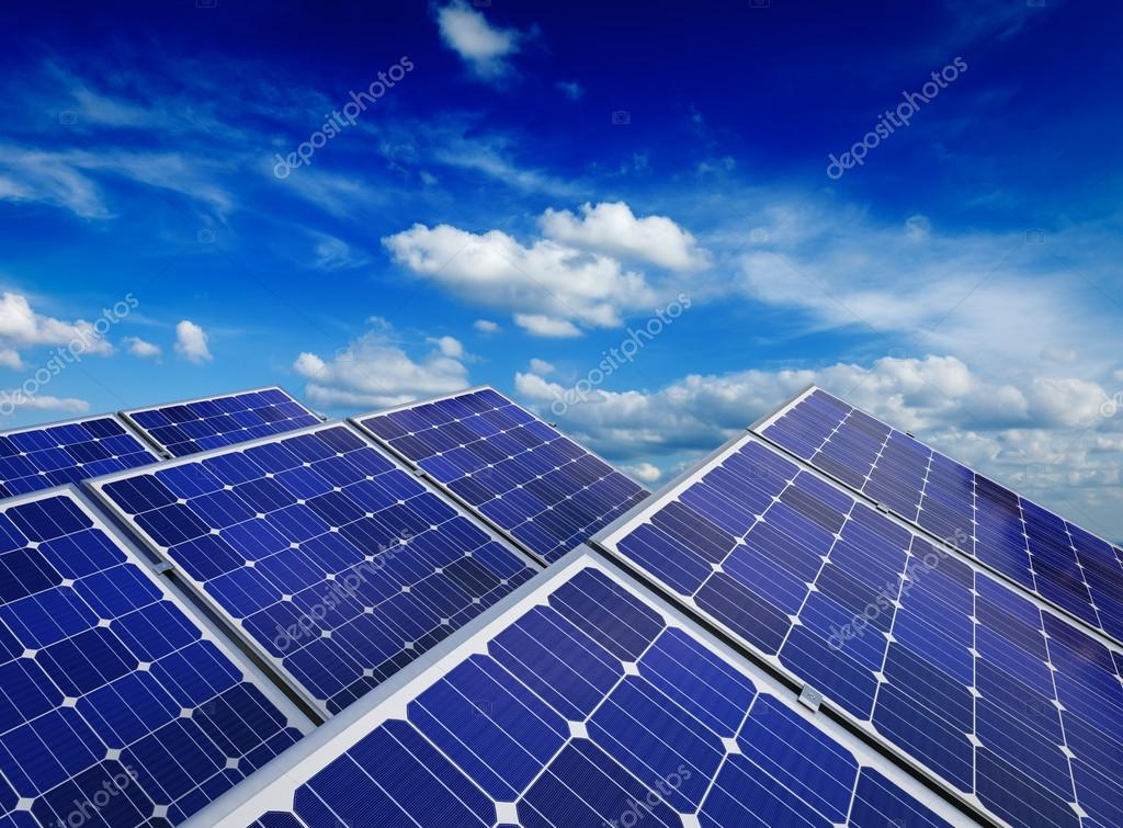 Solar battery panels against blue sky