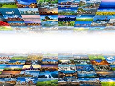 Multimedia background of many images