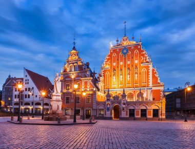 Riga Town Hall Square, House of the Blackheads and St. Peters C