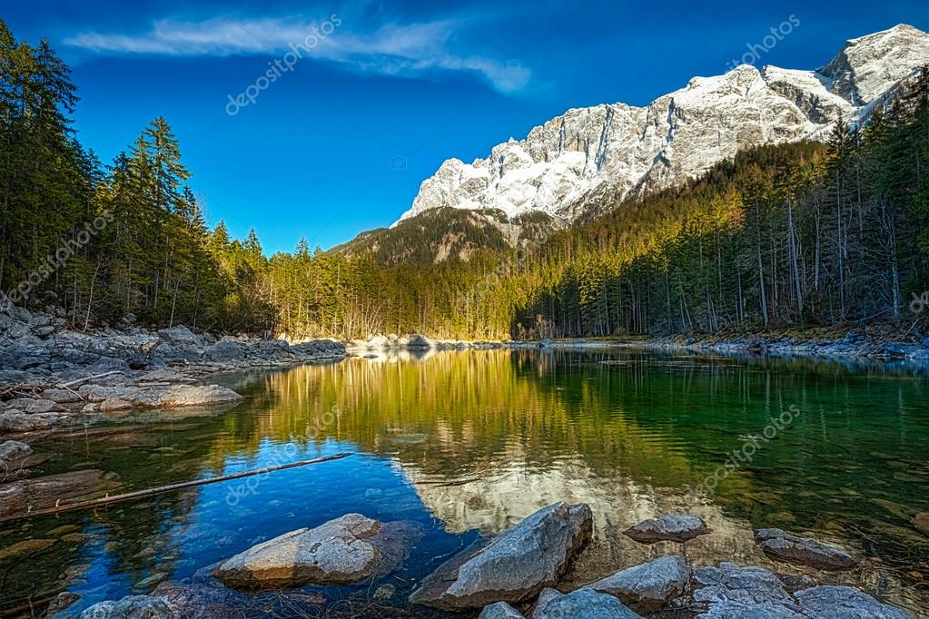 Фотообои Frillensee lake  and Zugspitze - the highest mountain in Germany