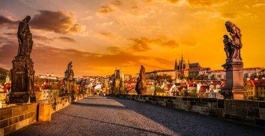 Charles bridge and Prague castleon sunrise