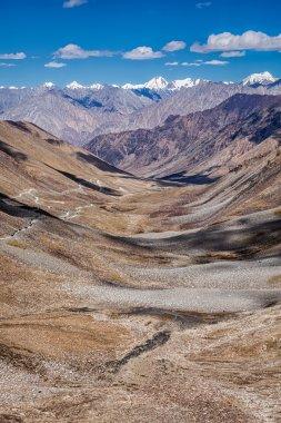Karakorum Range and road in valley, Ladakh, India