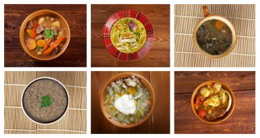 f different traditional soups. collage