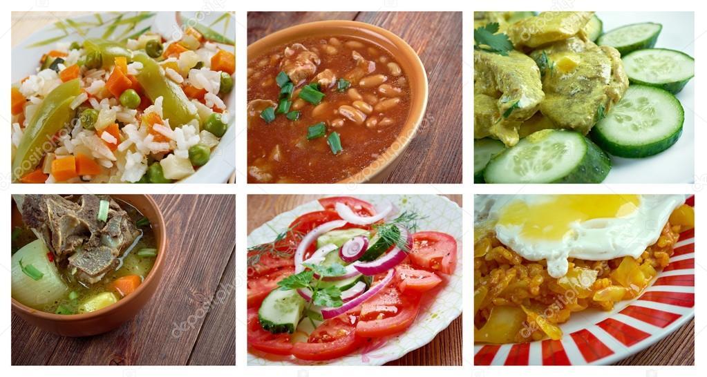 Conjunto de comida oriental cuisine.collage do Médio Oriente — Stock on