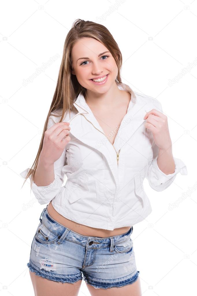revendeur rencontrer meilleure valeur Femme posant en chemise et denim Short. — Photographie ...