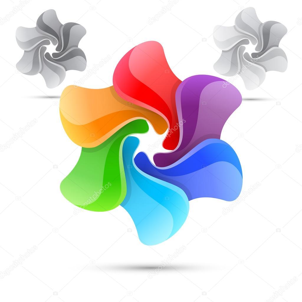 Plantilla de diseño de molino de viento de arco iris — Archivo ...