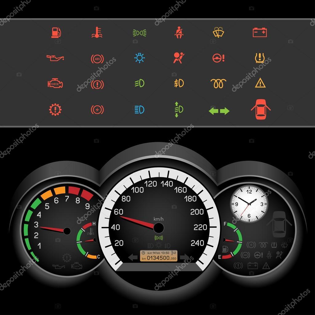 Auto Tacho Nacht panel — Stockvektor © romvo79 #100090210 | {Armaturenbrett symbole 79}