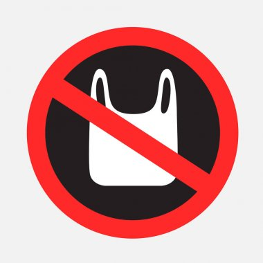 Polyethylene pack prohibited dark sticker on gray backgroud. No plastic bags sticker. Cellophane pollution forbidden icon