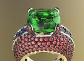 3D obrázek zlata prsten s diamantem. Šperky pozadí. Módní doplněk