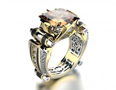 Engagement  Ring with cognac diamond