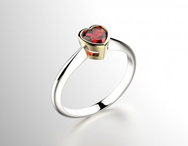 Ring with Garnet heart shape