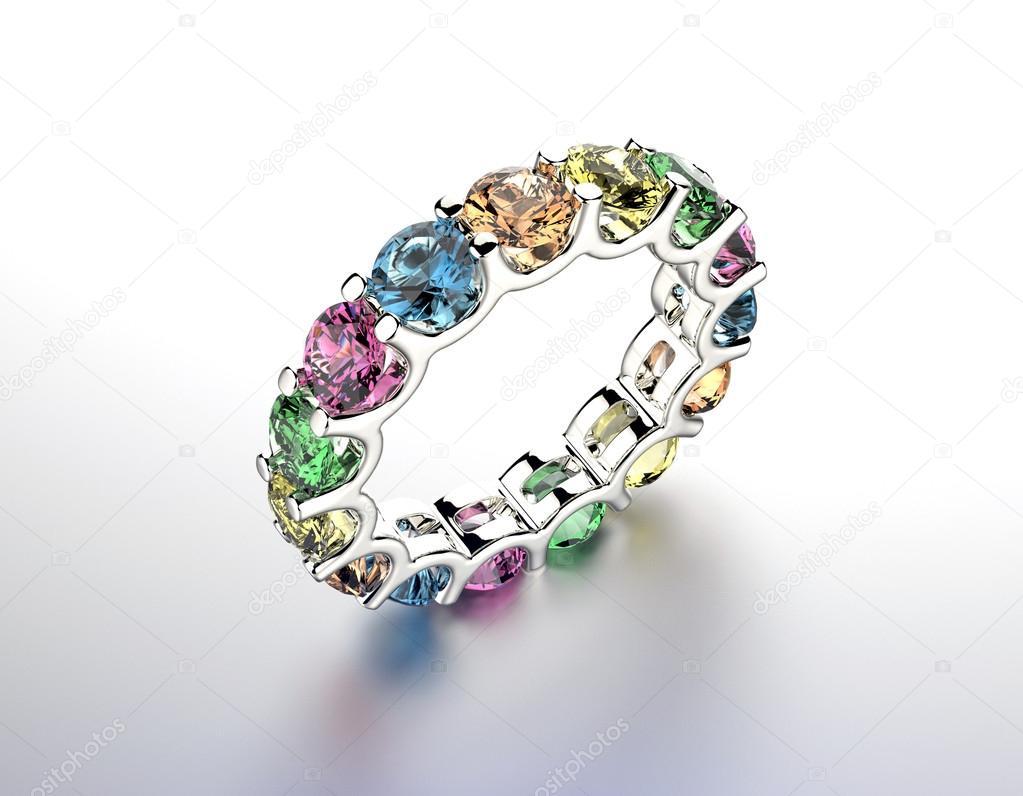 1634668701d3 Anillo de compromiso con piedras preciosas de diferentes colores. Fondo de  joyería - anillos de compromiso piedras preciosas — Foto de ...