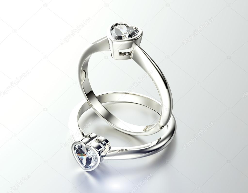 Каблучки з дорогоцінним камінням форми серця — Стокове фото — білий ... 37146195d1547