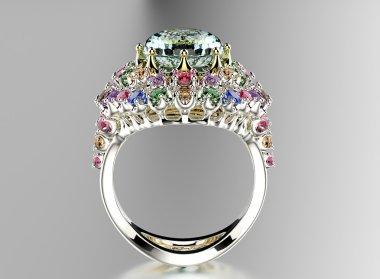 Golden Ring with gemstones