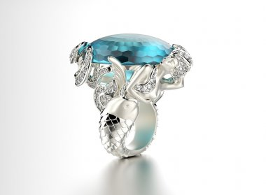 Silver ring with blue gemstone