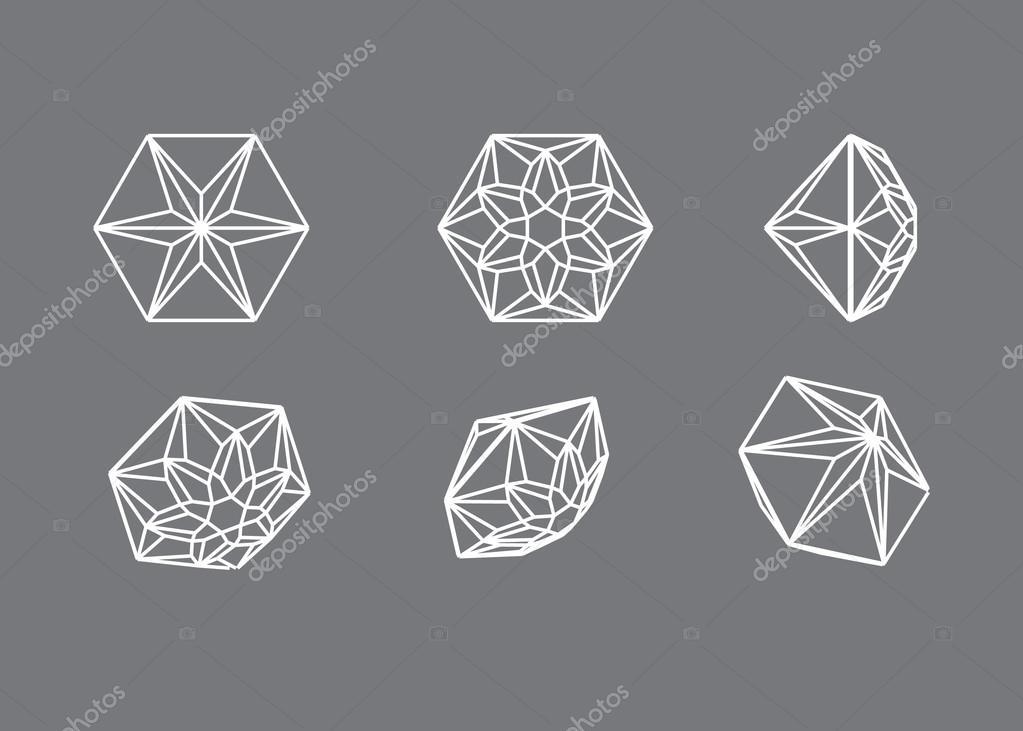 Auflistungsformen des Diamanten. Drahtmodell-Abbildung schneiden ...