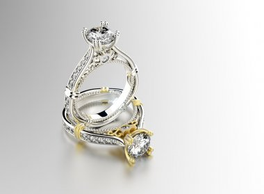 Golden Rings with diamond.