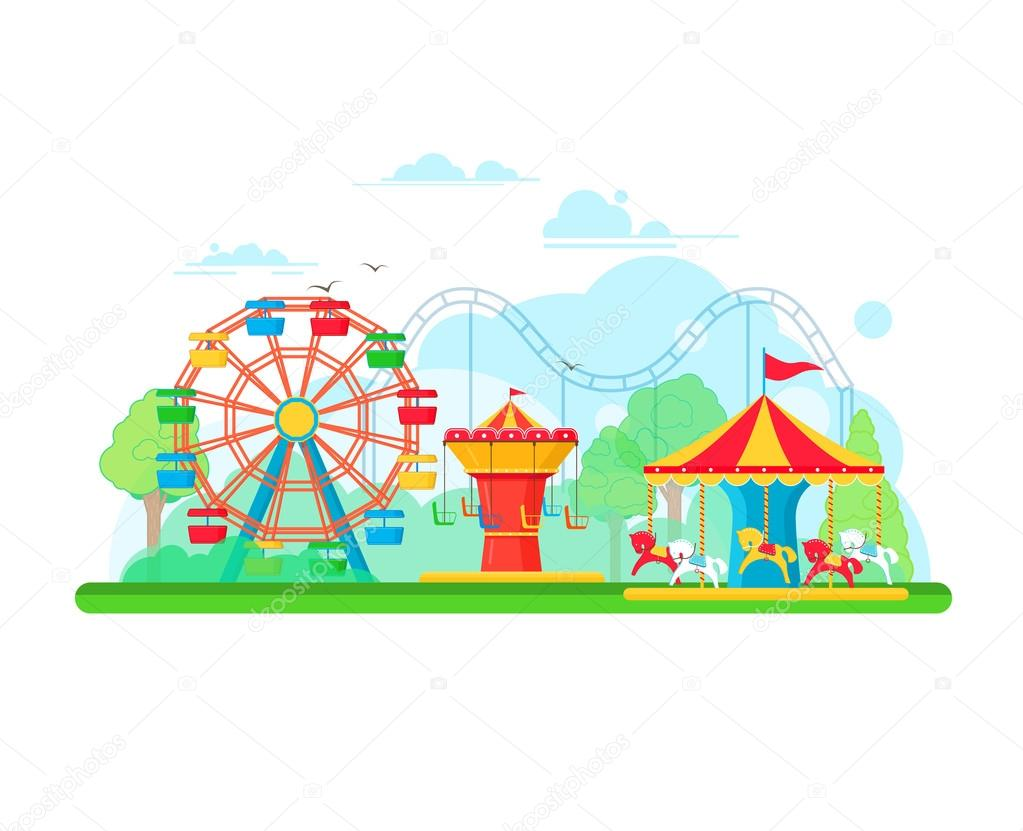 Amusement park concept with ferris wheel and carousels