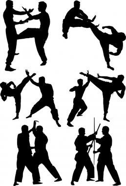 Sport karate man doing exercise. Vector illustration
