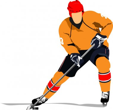 Ice hockey player. Colored Vector illustration for designers