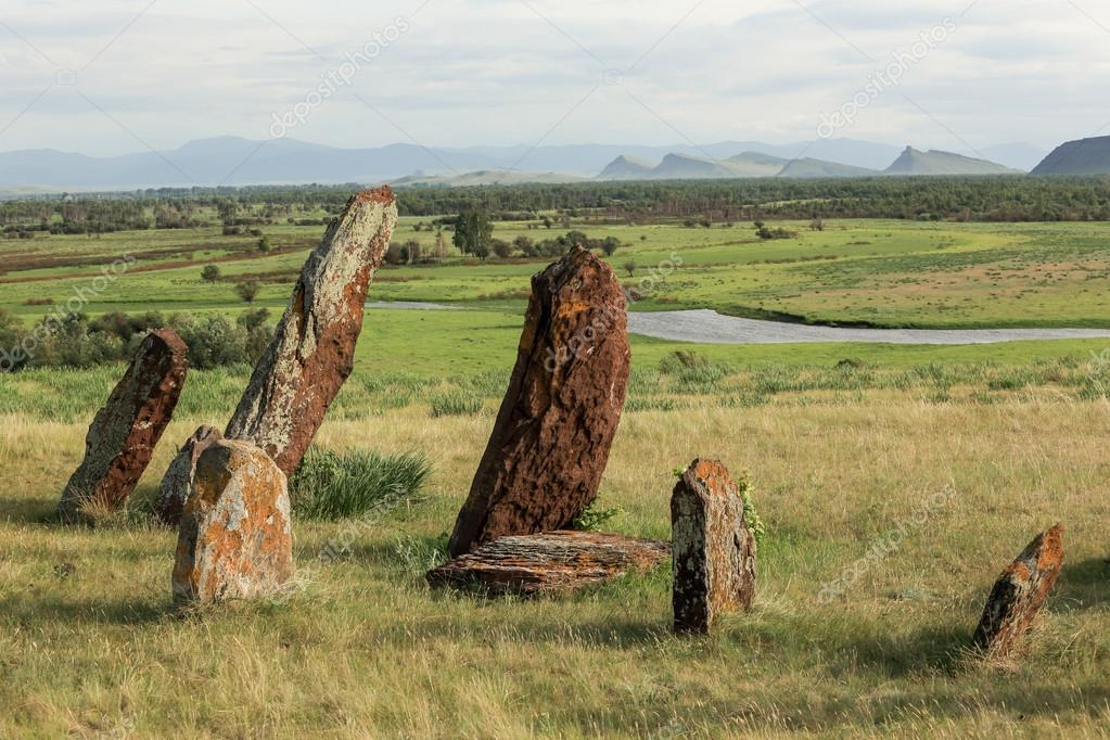 Ancient gravestones in Khakassia. Republic of Khakassia, Siberia