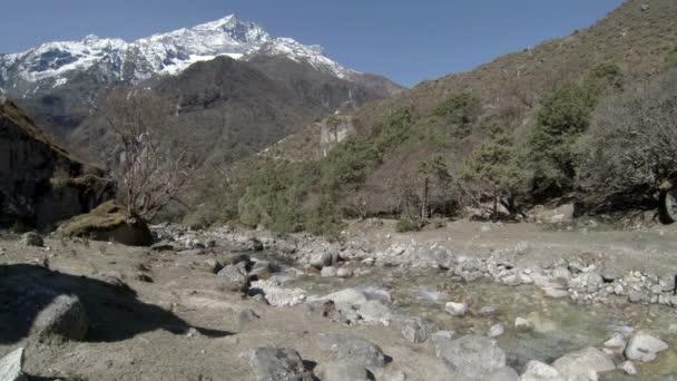 Mountain river. Melting glacier Ngozumpa, Himalayas, Nepal. Full HD