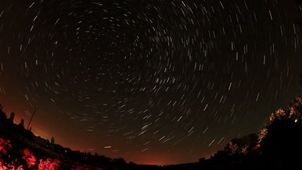 Time lapse of the night sky with clouds and stars passing by behind a forest. Full HD