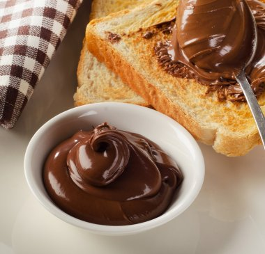 Toasts with chocolate spread