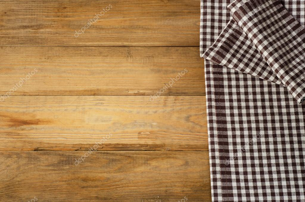 Charmant Brown Checkered Tablecloth Textile On Old Wooden Background U2014 Photo By  Bit245