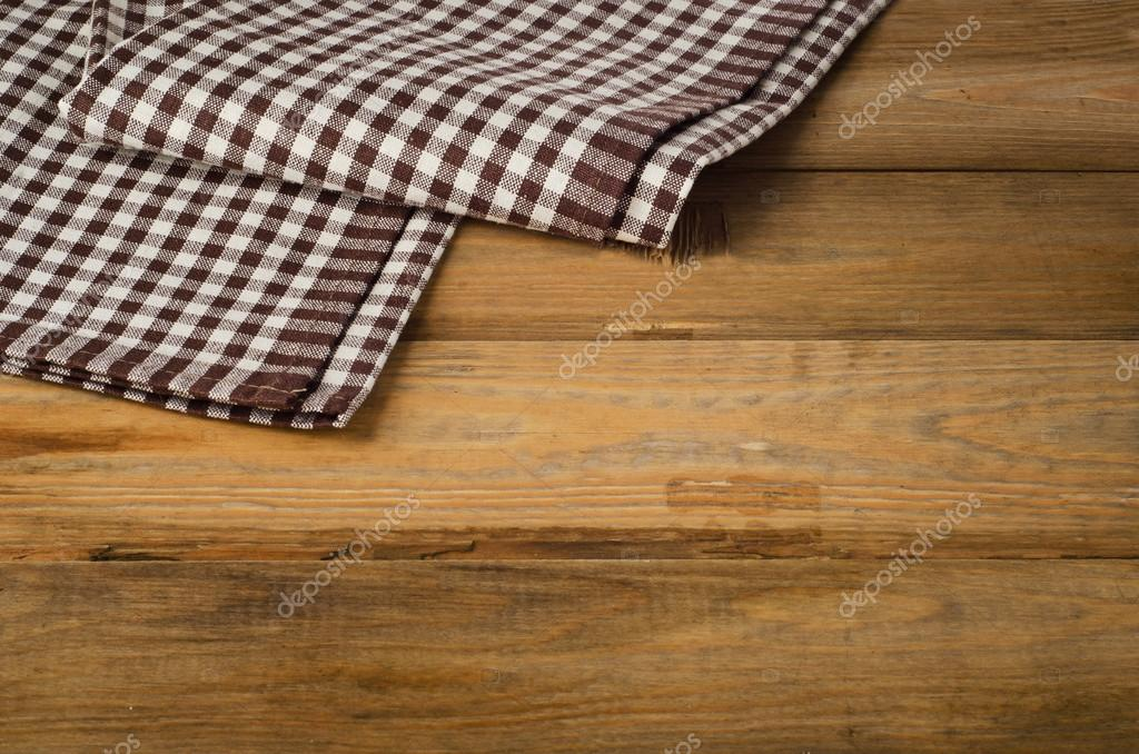 Brown Checkered Tablecloth Textile On Old Wooden Background U2014 Photo By  Bit245