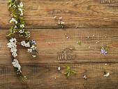jarní květiny na dřevěný stůl