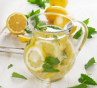 Water with lemons and mint handmade