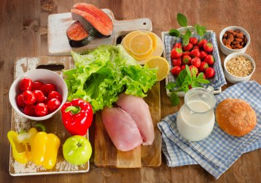 Balanced diet, healthy food concept