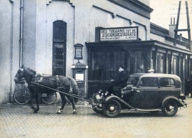 Coachman operates horse