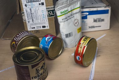 Canned food, manufactured in Russia