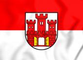 3D Flagge von Weilheim in Oberbayern (Bayern), Deutschland. 3D-Illustration.