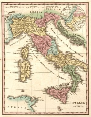 Ancient map of Italy at the time of the Roman Empire