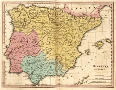 Detailed map of the Iberian Peninsula at the time of the Roman E