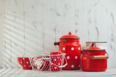 Red polka dot utensils