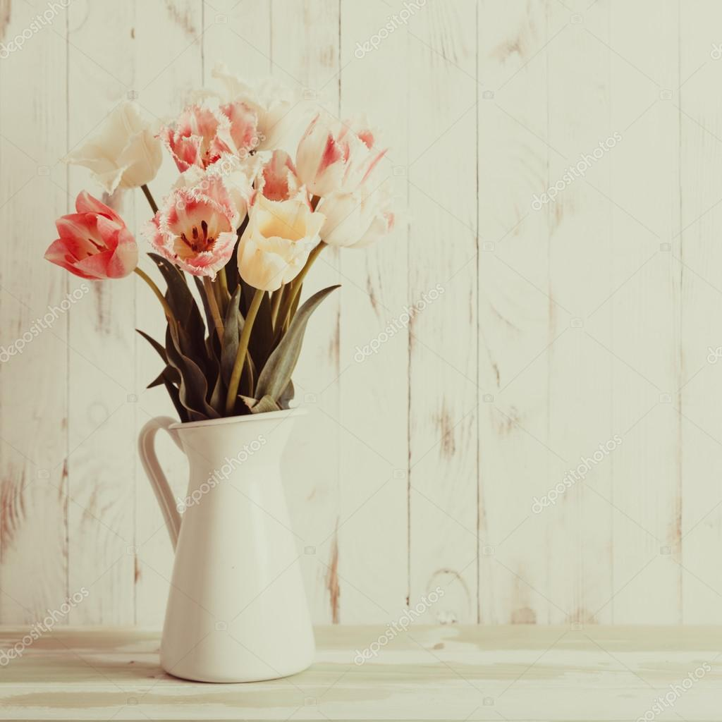Flowers bouquet of white and pink tulips
