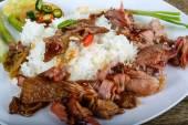 Fotografie Lecker Schweinefleisch mit Reis