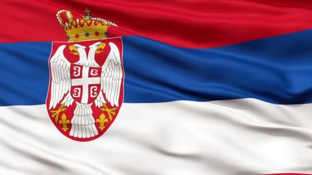 Close Up Waving National Flag of Serbia